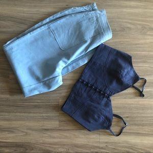 Linen High Waisted Pants Two Piece Set
